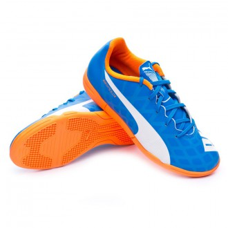Zapatilla de fútbol sala  Puma Jr Evospeed 5.4 POP I.T. Electric blue lemonade-White-Orange clown