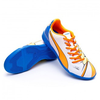 Zapatilla de fútbol sala  Puma Jr Evopower 4.2 I.T White-Orange clown-Electric blue lemonade