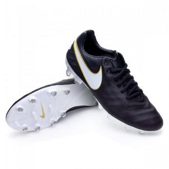Chuteira  Nike Tiempo Legacy II FG Black-White-Metallic gold