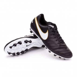 Chuteira  Nike Tiempo Genio Piel II AG-R Black-White-Metallic gold