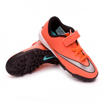 Chaussure  Nike Jr Mercurial Vortex II velcro Turf Bright mango-Metallic silver-Hyper turquoise