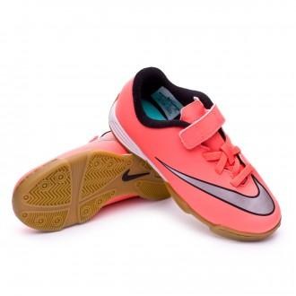 Zapatilla  Nike Jr Mercurial Vortex II velcro IC Bright mango-Metallic silver-Hyper turquoise