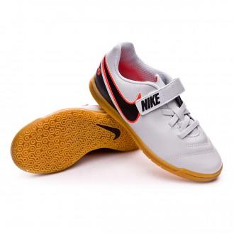 Zapatilla  Nike Jr Tiempo Rio III velcro IC Pure platinum-Black-Metallic silver