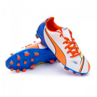 Chuteira  Puma Jr Evopower 4.2 POP AG White-Orange clown-Electric blue lemonade