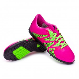 Bota  adidas jr X 15.4 Turf Shock pink-Solar green-Core black