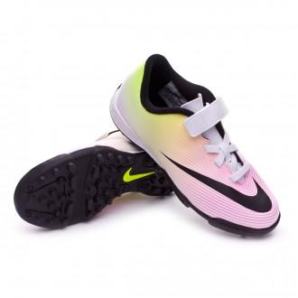 Chuteira  Nike jr Mercurial Vortex II V TF White-Volt-Total orange