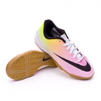 Sapatilha de Futsal  Nike jr Mercurial Vortex II IC White-Volt-Total orange