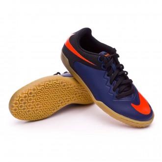 Zapatilla de fútbol sala  Nike jr HypervenomX Pro IC Navy-Black-Light brown-Total orange