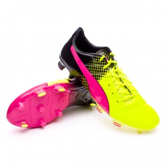 Chuteira  Puma evoPower 1.3 FG Tricks Pink glo-Safety yellow-Black