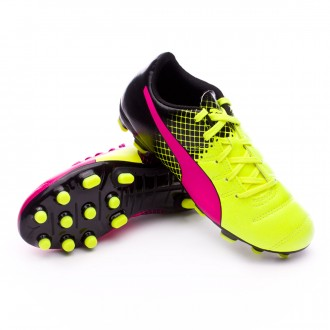 Boot  Puma jr evoPower 4.3 AG Tricks Pink glo-Safety yellow-Black