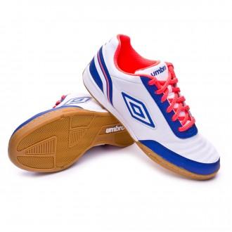 Sapatilha de Futsal  Umbro Futsal Street V White-Dazzing blue-Fiery coral