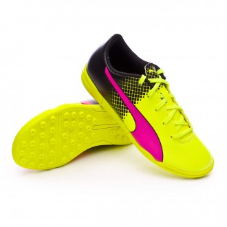Zapatilla de fútbol sala  Puma jr evoSpeed 5.5 TT Tricks Pink glo-Safety yellow-Black