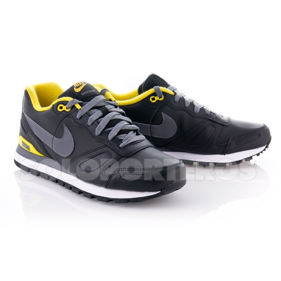 nike air waffle trainer leather noir. Black Bedroom Furniture Sets. Home Design Ideas