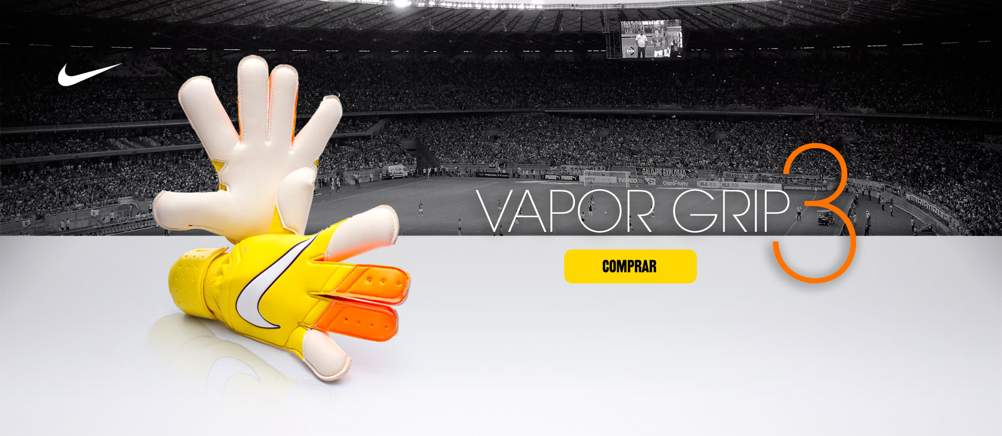 Luva Vapor Grip 3 Yellow-Total orange